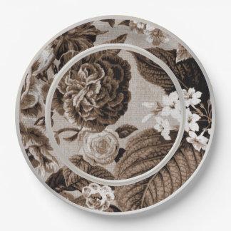 Plato De Papel Tono Brown Toile floral No.1 de la sepia