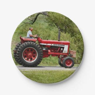 Plato De Papel Tractor rojo