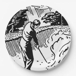 Plato De Papel Trampa de arena retra del golfista