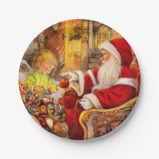 Plato De Papel Trineo de Santa - ilustracion de Papá Noel
