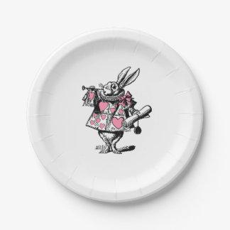 Plato De Papel Trompetista blanco Alicia de la corte del conejo