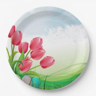 Plato De Papel Tulipanes de la primavera y huevos de Pascua