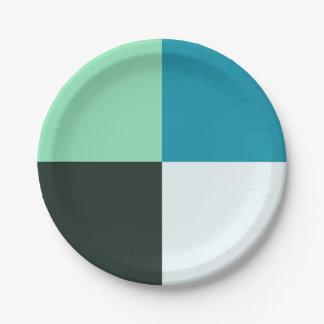 Plato De Papel Turquesa azulverde verde azulada blanca de la