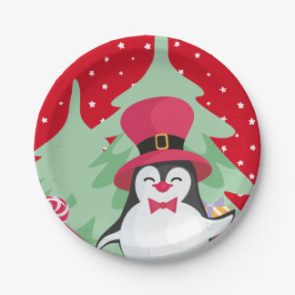 Plato De Papel Un pingüino festivo - 1