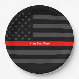 Plato De Papel Una línea roja fina bandera de los E.E.U.U. sus