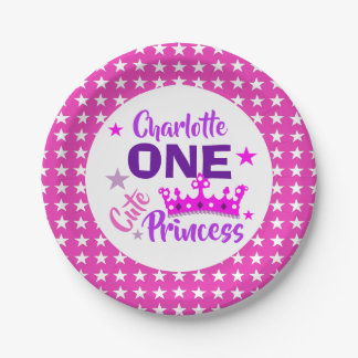 Plato De Papel Una princesa linda 1r cumpleaños personalizado