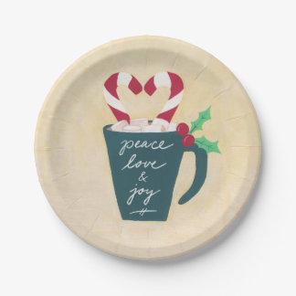 Plato De Papel Una taza de paz, de amor y de alegría