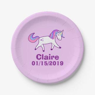 Plato De Papel Unicornio mágico con la melena rosada, púrpura, y