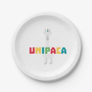 Plato De Papel Unicornio Z0ghq del arco iris de la alpaca