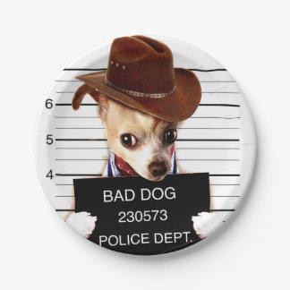 Plato De Papel vaquero de la chihuahua - perro del sheriff