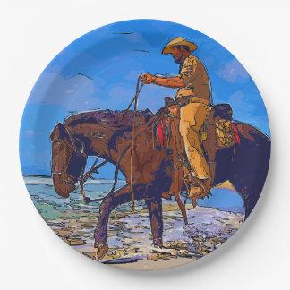 Plato De Papel Vaquero montado