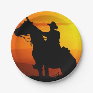 Plato De Papel Vaquero-Vaquero-sol-occidental-país de la puesta