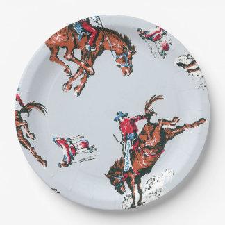 Plato De Papel Vaqueros retros en caballos salvajes Bucking