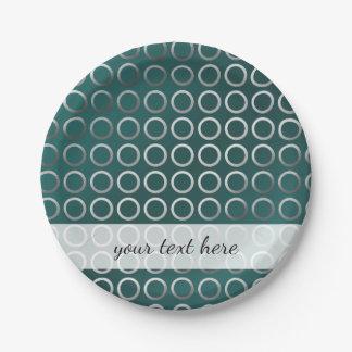 Plato De Papel verde geométrico de plata de la turquesa del