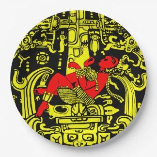 Plato De Papel Versión amarilla y roja del astronauta antiguo -