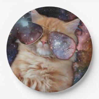 Plato De Papel Vidrios del gato - gato de las gafas de sol -