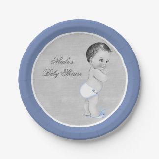Plato De Papel Vintage azul en colores pastel Little Boy de la