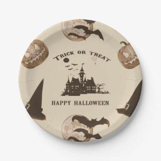 Plato De Papel Vintage Halloween