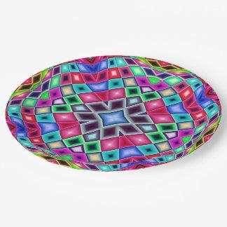 Plato De Papel Vitral del mosaico del arco iris del caleidoscopio