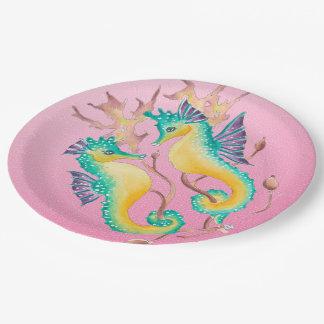 Plato De Papel vitral rosado de los seahorses