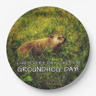 Plato De Papel ¡Vive cada día como es día de la marmota! placas