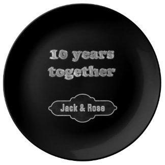 Plato De Porcelana 10mo Recuerdo el | del aniversario 10 años junto