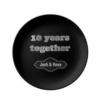 Plato De Porcelana 10mo Recuerdo el | del aniversario de boda 10 años
