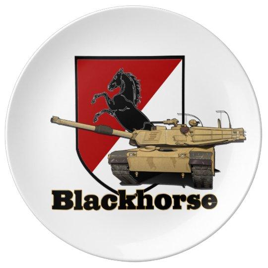 Plato De Porcelana 11mo Remiendo de Blackhorse y placa del tanque