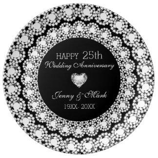 Plato De Porcelana 25to aniversario del círculo negro blanco de los
