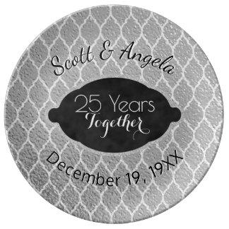 Plato De Porcelana 25to Recuerdo del aniversario de bodas de plata 25