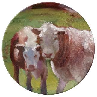 Plato De Porcelana 2 vacas en una placa del paisaje