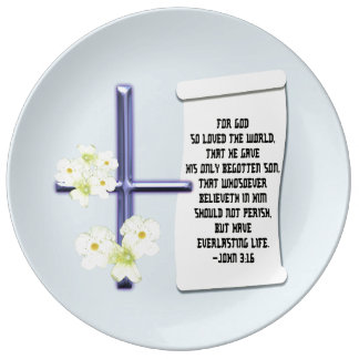 Plato De Porcelana 3:16 cruzado de Juan de la flor