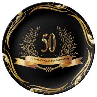 Plato De Porcelana 50.a placa feliz de la porcelana del aniversario