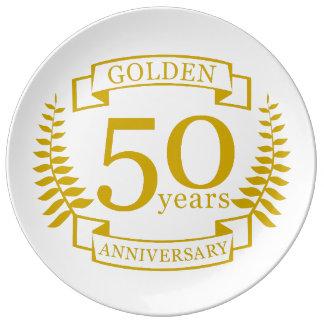 Plato De Porcelana 50 años de oro DE ORO de aniversario de boda 50