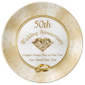 Plato De Porcelana 50.o Ideas del regalo del aniversario para los