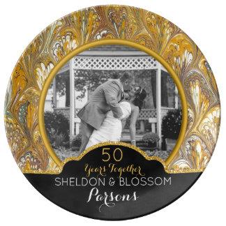 Plato De Porcelana 50.o Recuerdo de la foto del aniversario de boda