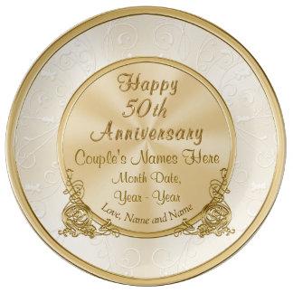 Plato De Porcelana 50.o regalo personalizado del aniversario, 3 cajas