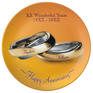 Plato De Porcelana 50.os anillos de oro del aniversario del boda de