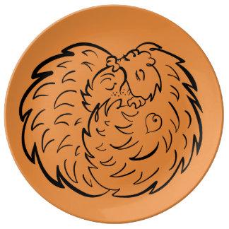 Plato De Porcelana Abrazando erizos 4 amantes Craftiespot del animal
