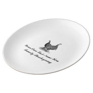 Plato De Porcelana Acción de gracias personalizada de la familia del