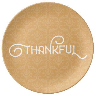 Plato De Porcelana Agradecido • Placa linda del damasco del otoño