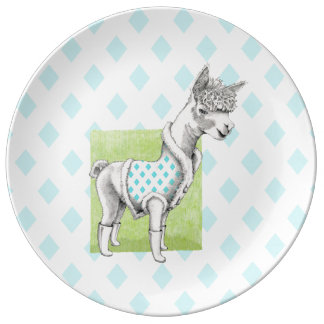Plato De Porcelana Alpaca en la placa decorativa verde de la