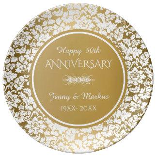 Plato De Porcelana Aniversario blanco del círculo 50.o del oro del