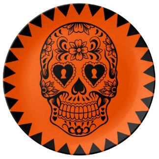 Plato De Porcelana Azucare la placa del cráneo, día de los muertos