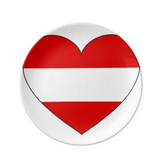 Plato De Porcelana Bandera de Austria simple