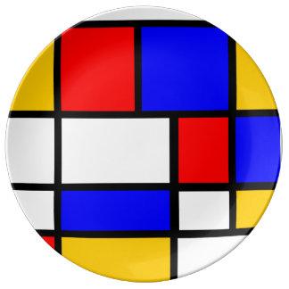 Plato De Porcelana Base contemporánea estilo Mondrian