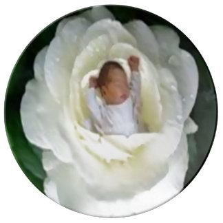 """Plato De Porcelana bebé que duerme en la placa color de rosa 10,75"""""""