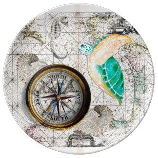 Plato De Porcelana Beige del mapa de la tortuga de mar