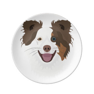 Plato De Porcelana Border collie feliz de la cara de los perros del