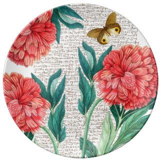 Plato De Porcelana Caligrafía roja del Peony
